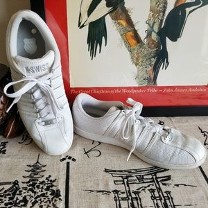 K-Swiss White Perforated Leather Sneaks 10M